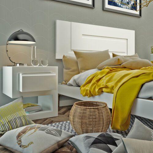 Cabecero diseño minimalista blanco