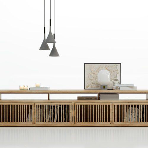 Mueble de televisión de diseño en fresno