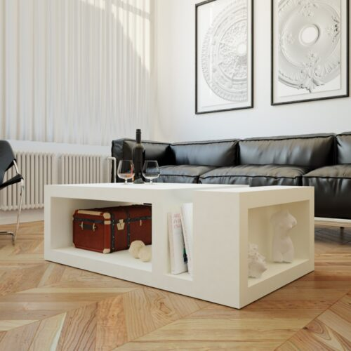 Mesa de centro diseño minimalista blanca