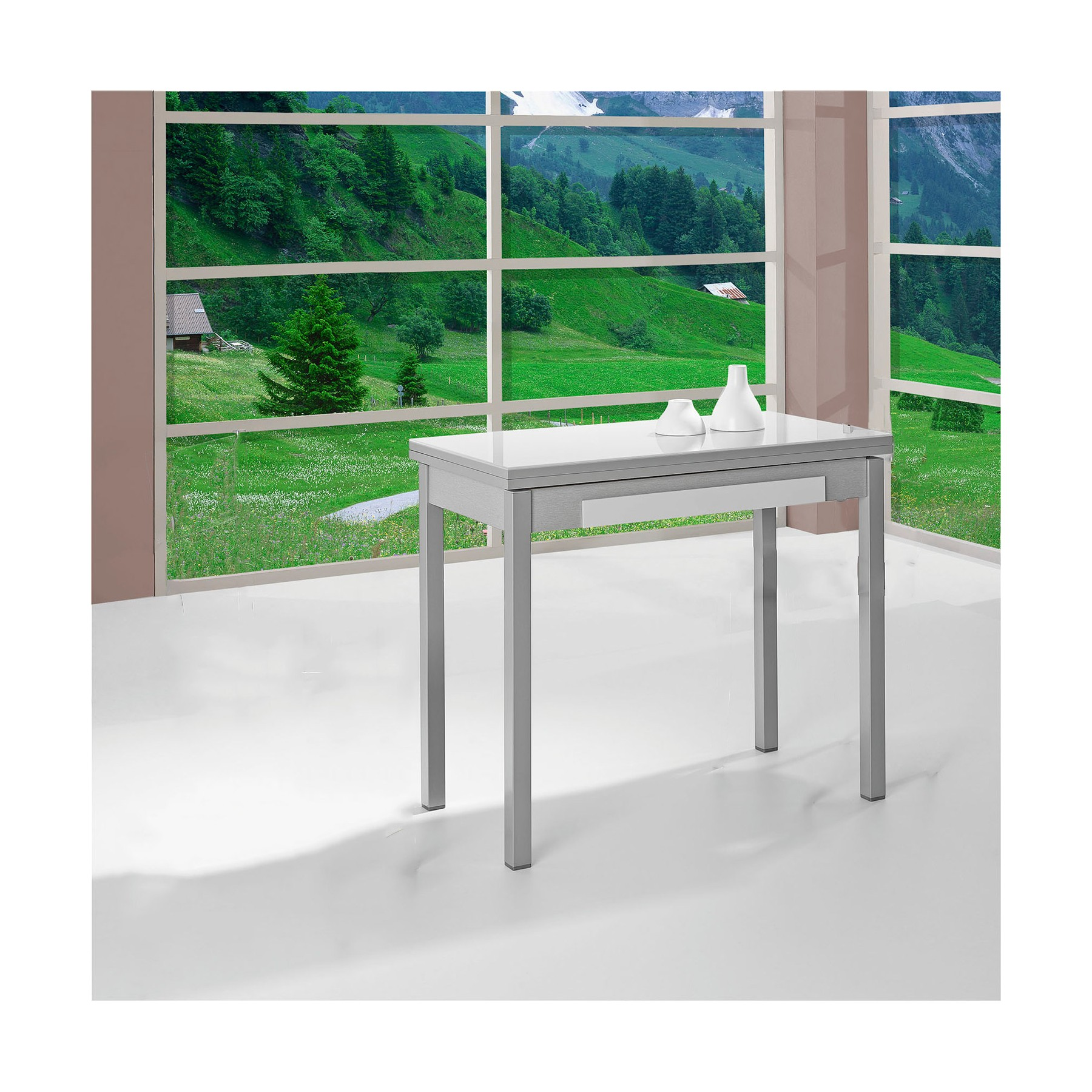 Mesa de cocina extensible apertura de libro con cristal